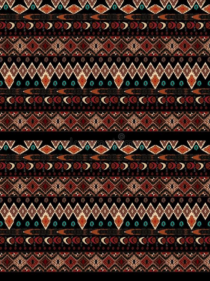 在热颜色的阿兹台克人无缝的模式 库存例证