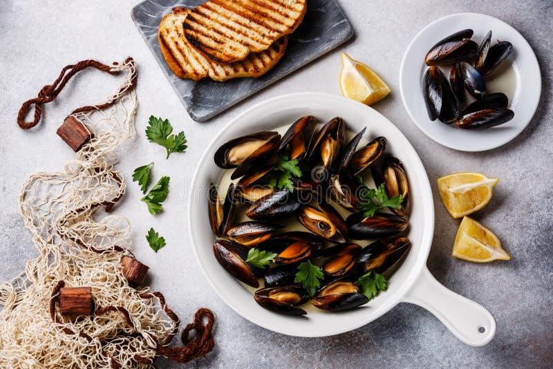 在烹调平底锅、敬酒的面包和渔网的淡菜 库存照片
