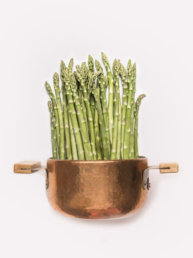 在烹调罐的芦笋在白色背景,正面图 食物健康素食主义者 图库摄影