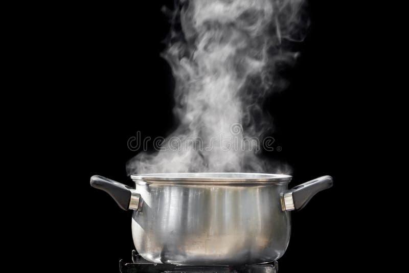 在烹调罐的蒸汽 图库摄影