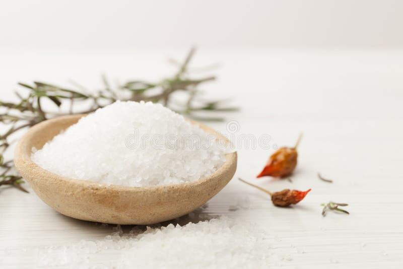 在烹调,医学和化妆用品的海盐 免版税库存图片