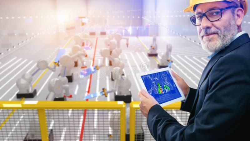 在焊接太阳电池板w的行动的巧妙的自动化产业机器人 向量例证