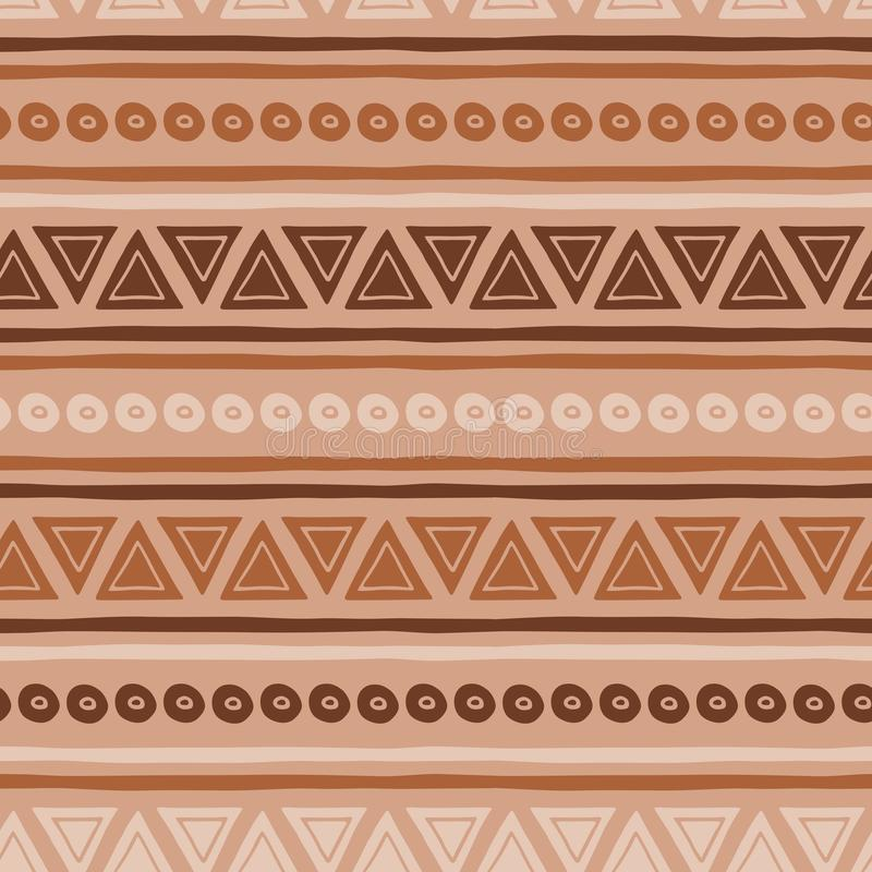 在焦糖的咖啡样式摘要无缝的传染媒介褐色种族部族纹理 向量例证