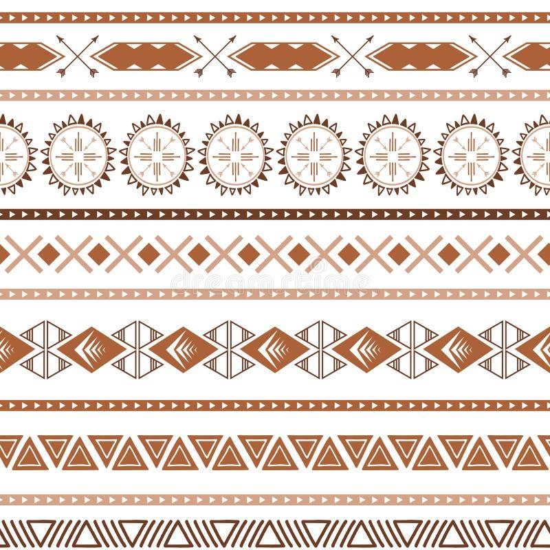 在焦糖的咖啡样式摘要无缝的传染媒介褐色种族部族boho纹理 皇族释放例证