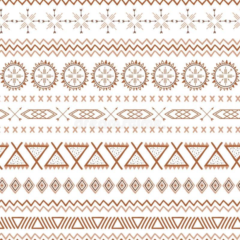 在焦糖颜色的咖啡无缝的样式墨西哥传染媒介褐色种族部族墨西哥纹理 向量例证