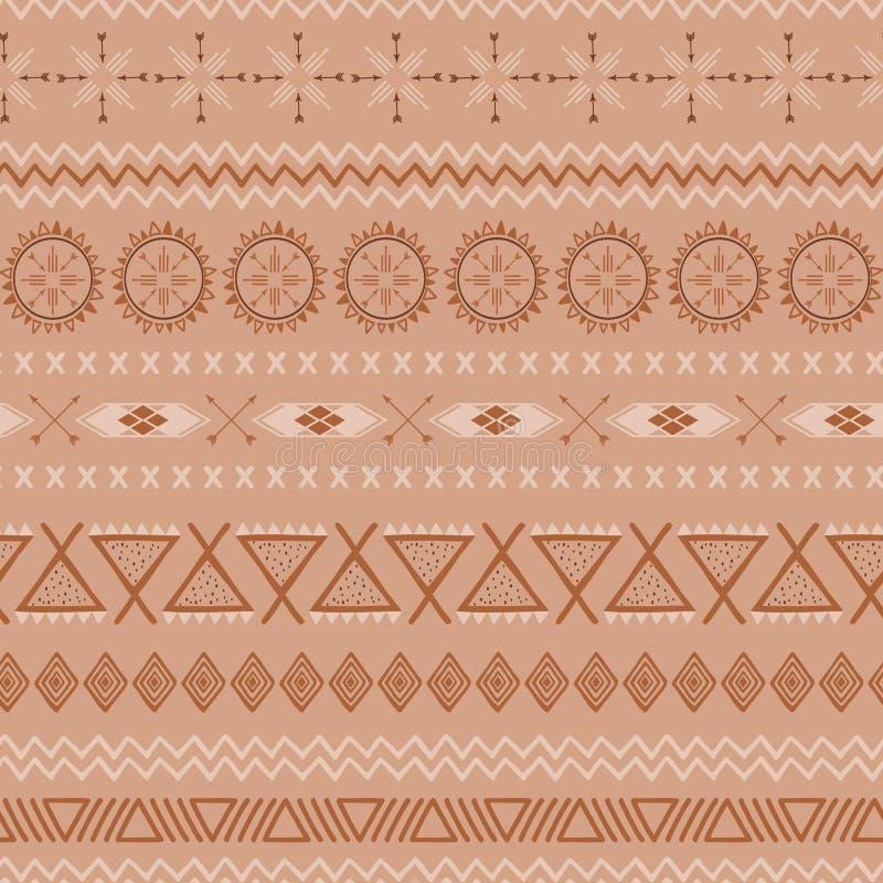 在焦糖颜色的咖啡样式摘要无缝的传染媒介褐色种族部族墨西哥纹理 库存例证