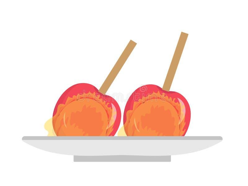 在焦糖,平的象,动画片样式的苹果 在白色背景隔绝的苹果糖 传染媒介例证,夹子艺术 皇族释放例证