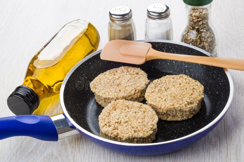 在煎锅,小铲,菜油,盐,胡椒的未加工的炸肉排 免版税库存图片
