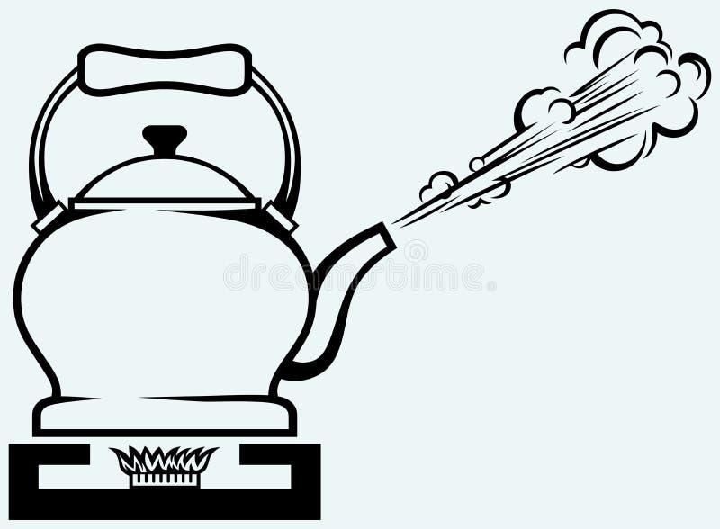 在煤气炉的茶壶 库存例证