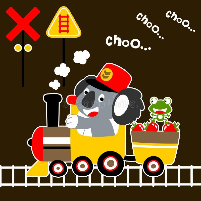 在煤炭火车的逗人喜爱的小的动物动画片 向量例证