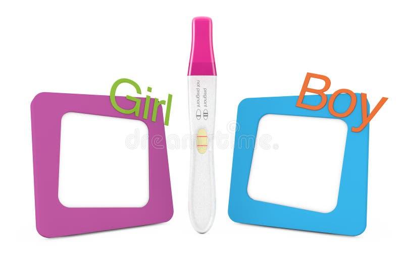 在照片框架之间的正面塑料妊娠试验与女孩a 库存例证