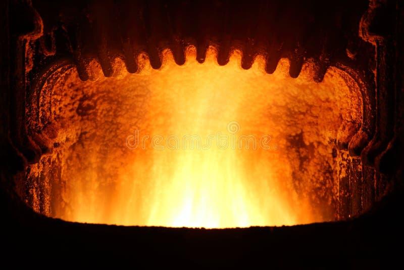 在熔炉的火。 免版税库存图片