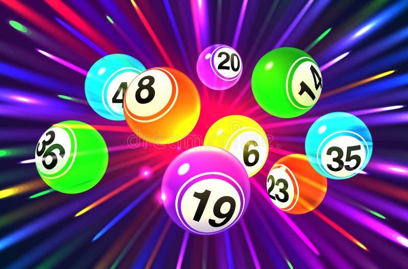 在爆炸的黑暗的背景的传染媒介五颜六色的宾果游戏球 皇族释放例证