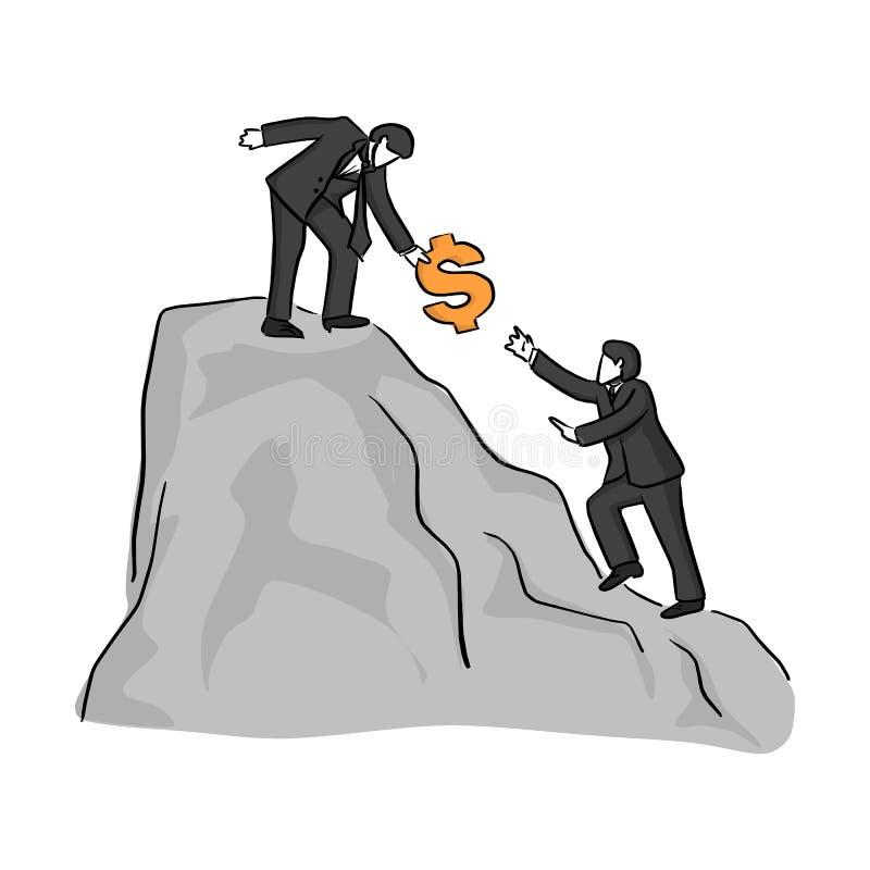 在爬上用美元的符号传染媒介例证剪影乱画手的山帮助的同事或朋友顶部的商人 库存例证