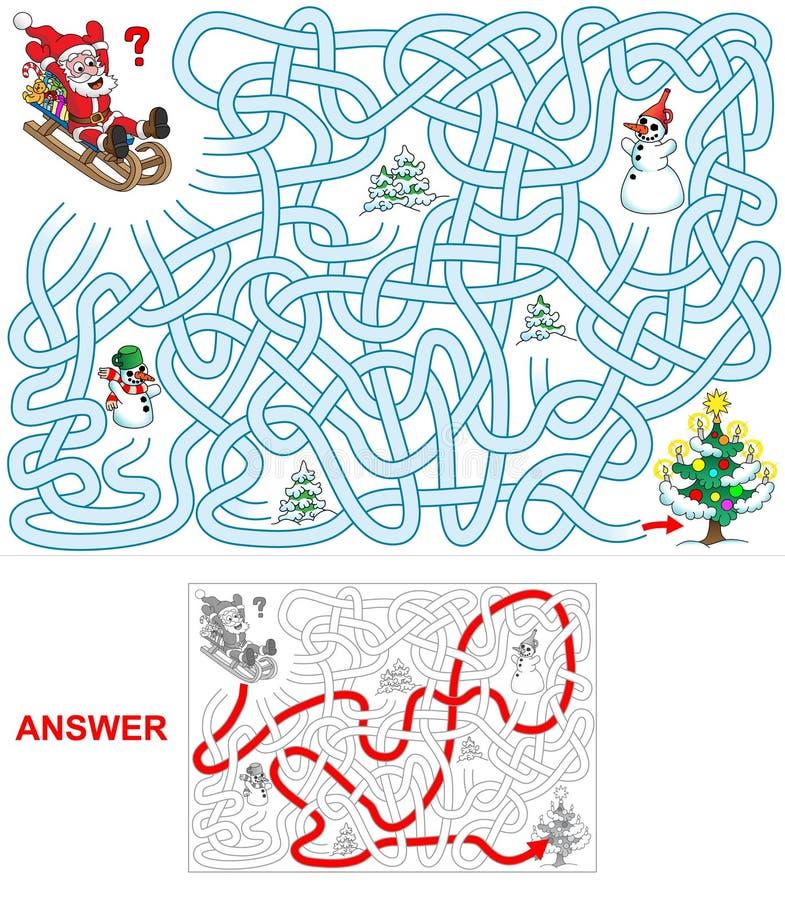 在爬犁的圣诞老人 向量例证