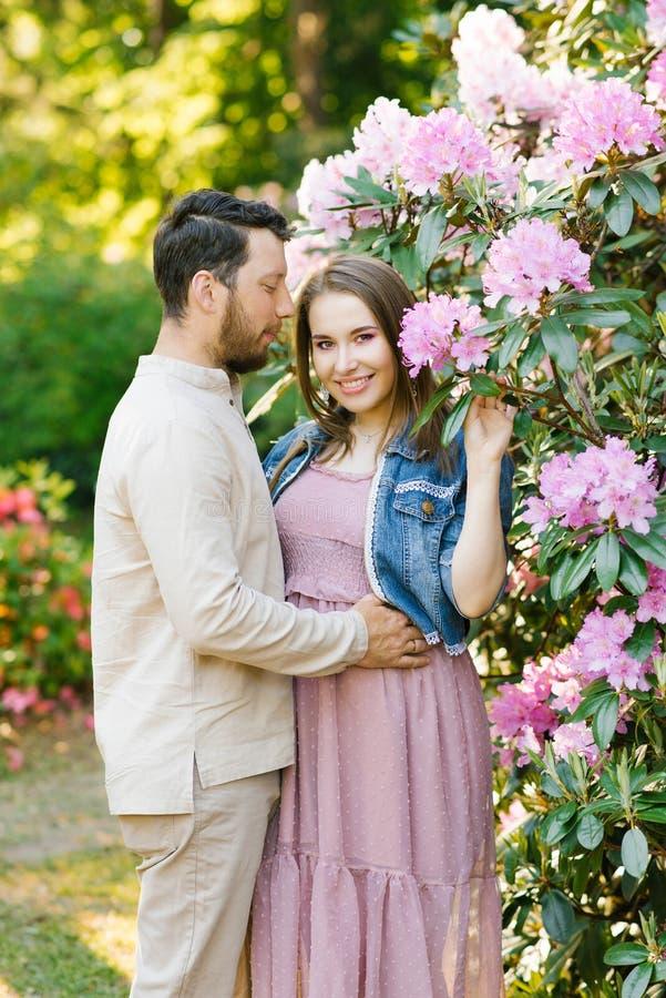 在爱丈夫和妻子的美好的年轻夫妇互相拥抱,享受春天夏日,走在公园 库存图片