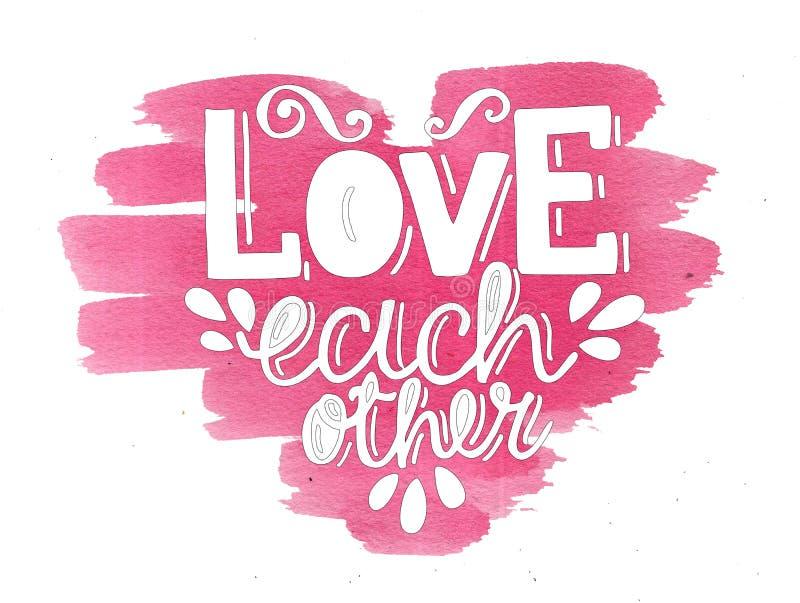 在爱上写字的手在水彩桃红色心脏 库存例证