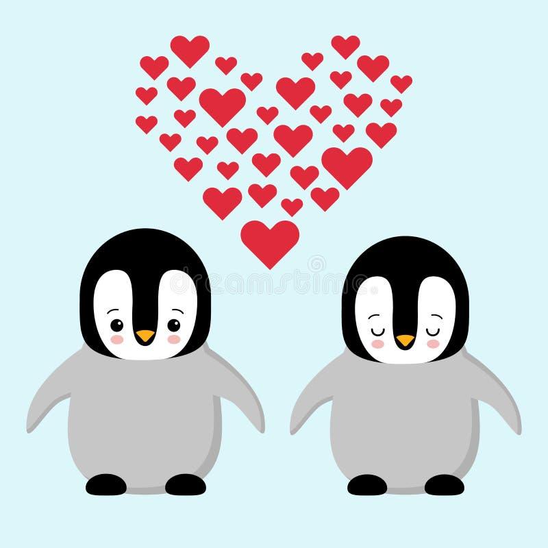 在爱企鹅的愉快的情人节夫妇 拿着心脏的企鹅 与心脏的豪华的玩具企鹅 Kawaii 皇族释放例证