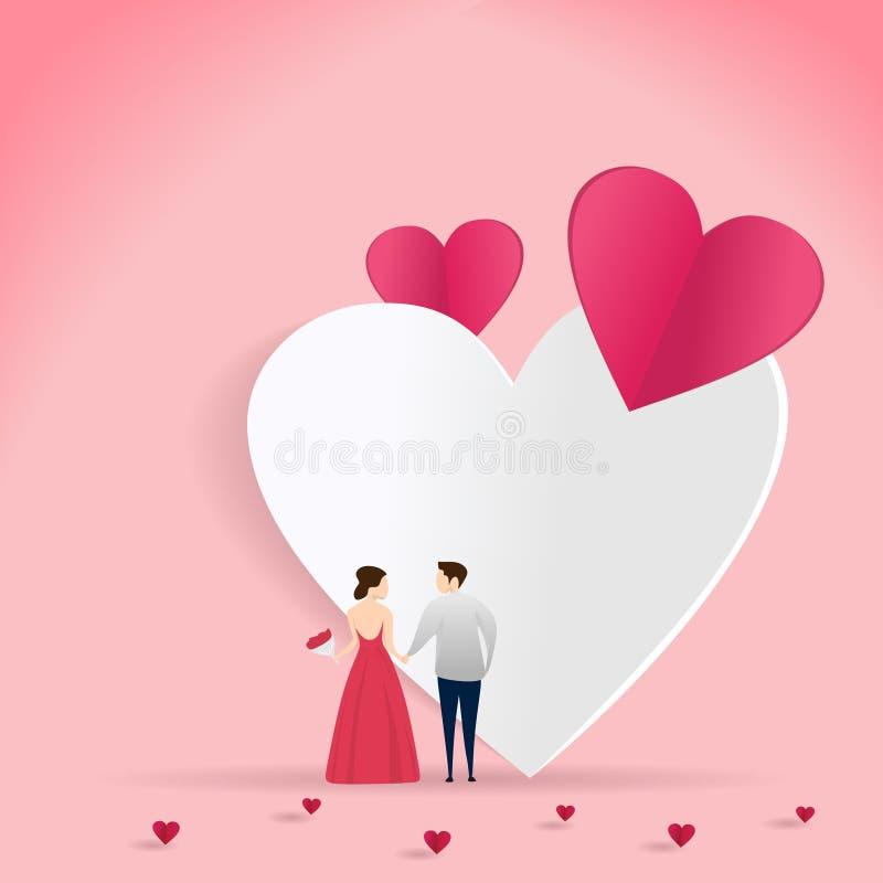 在爱传染媒介例证的夫妇valentine'的;s天卡片与心脏纸裁减艺术样式的横幅设计 皇族释放例证