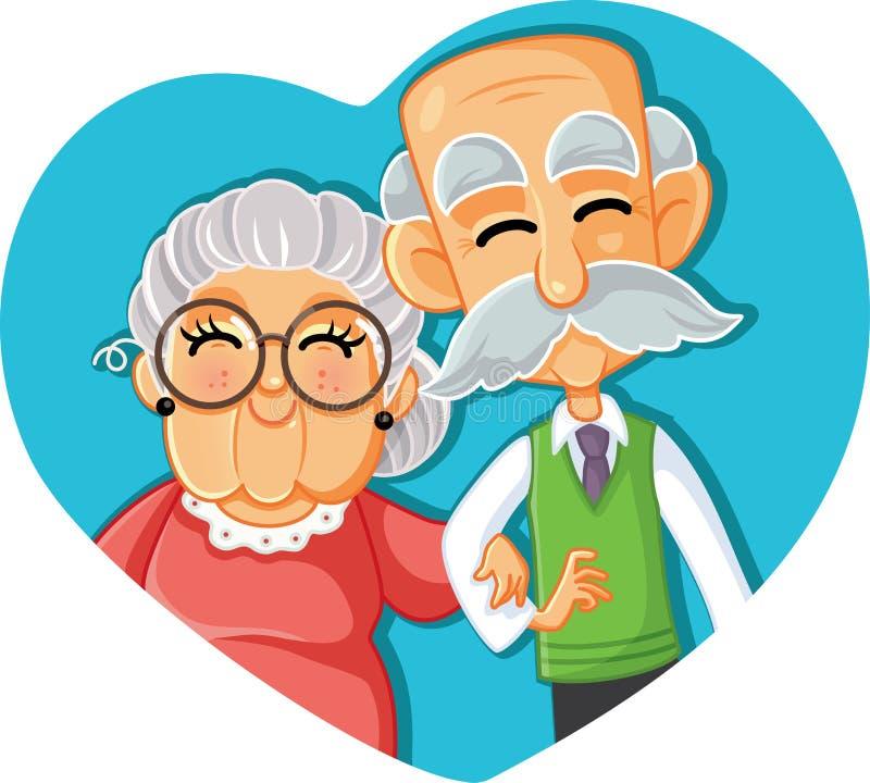 在爱传染媒介动画片例证的资深夫妇 库存例证