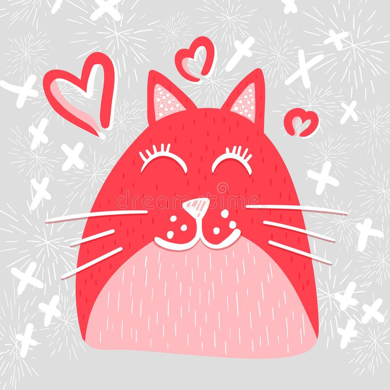 在爱传染媒介平的字符的逗人喜爱的猫 向量例证