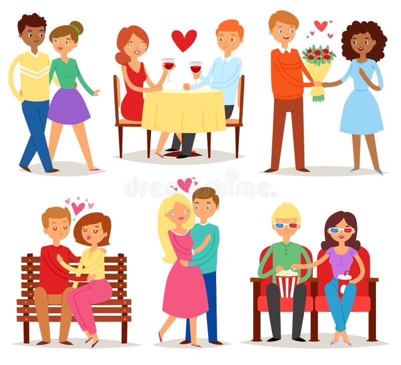 在爱传染媒介恋人字符的夫妇在可爱的关系在一起爱恋的日期情人节和男朋友 皇族释放例证