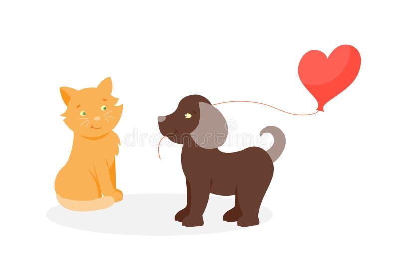 在爱传染媒介的动物夫妇 向量例证