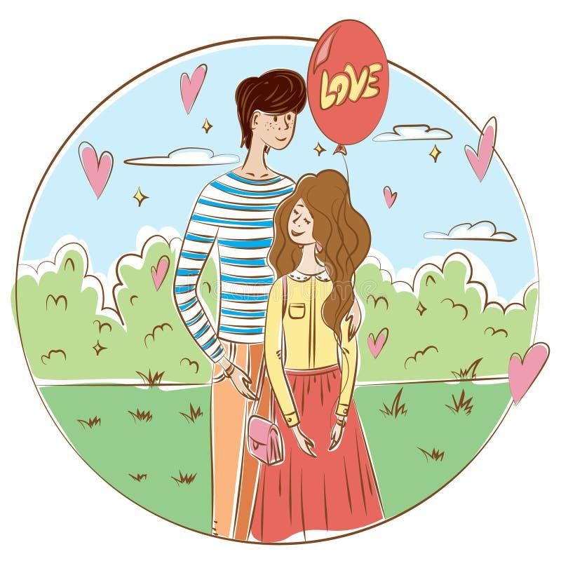 在爱和关系题材的图表例证  一对爱恋的夫妇在公园,有a的一个女孩站立 库存例证