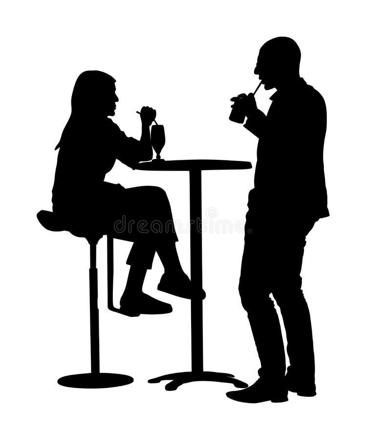 在爱坐的和谈的传染媒介剪影例证的夫妇 喝在酒吧的朋友在工作以后 皇族释放例证