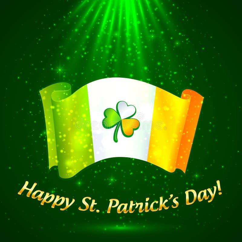 在爱尔兰标志的凯尔特三叶草在魔术光 库存例证
