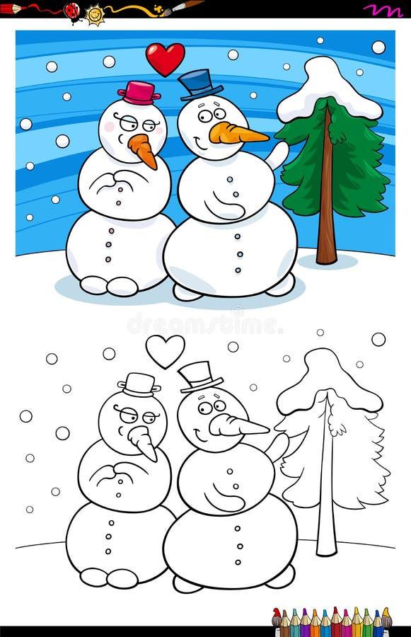 在爱彩图的雪人 向量例证