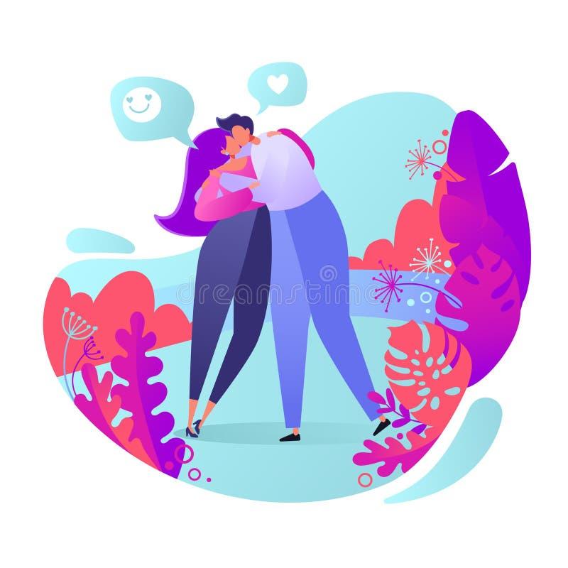 在爱情故事题材的浪漫传染媒介例证 愉快的平的人字符 在爱的夫妇,他们拥抱并且亲吻 H 皇族释放例证