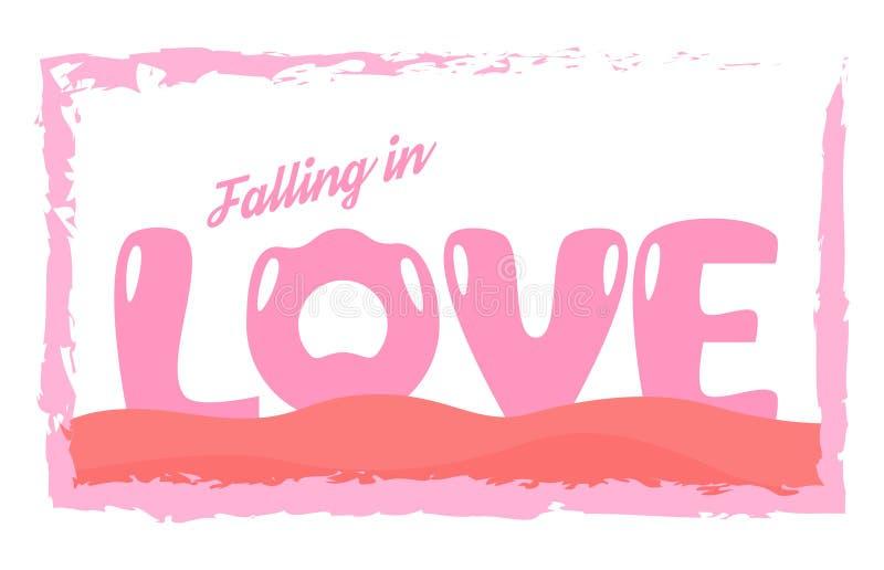 在爱概念的口号设计广告的, T恤杉,盖子, 库存例证