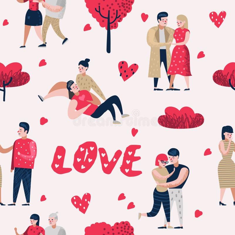 在爱漫画人物人无缝的样式的夫妇 与心脏和浪漫元素的情人节背景 向量例证