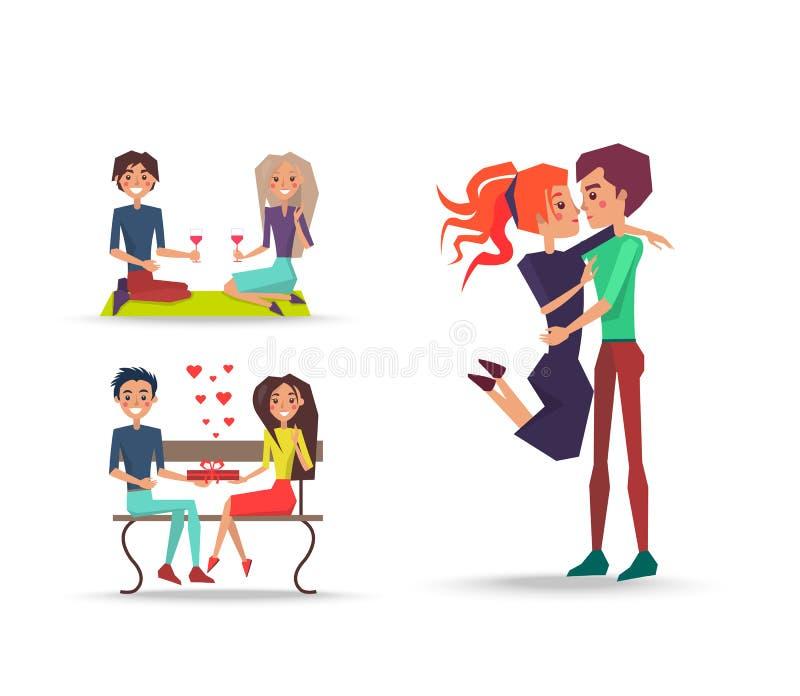 在爱的三对夫妇在白色的情人节 库存例证