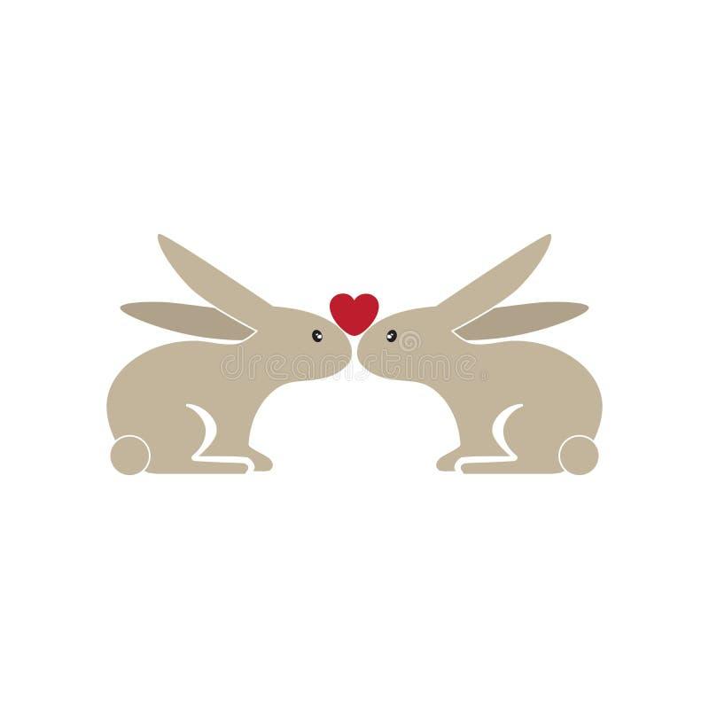 在爱的两个逗人喜爱的兔宝宝 皇族释放例证