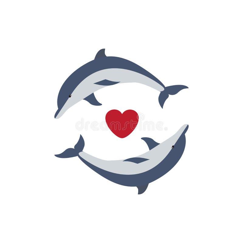 在爱的两只逗人喜爱的海豚 向量例证
