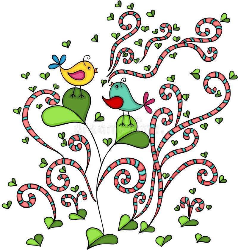 在爱的两只鸟在与心脏的抽象树生叶 库存例证