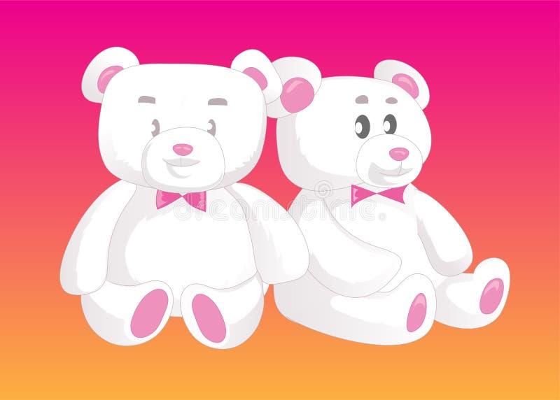 在爱的二个逗人喜爱的玩具熊 女性例证男性性标志向量 向量例证