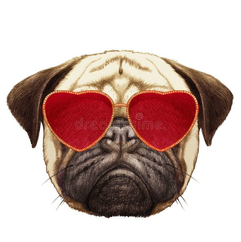 在爱的哈巴狗狗!哈巴狗狗画象与心形的太阳镜的 库存例证