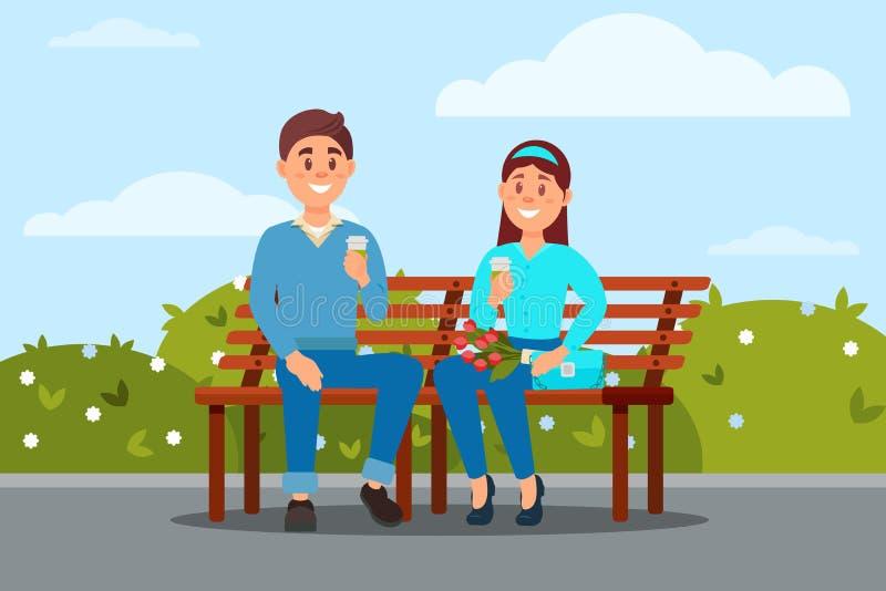 在爱的夫妇一起坐在公园传染媒介ilustration的长凳 向量例证