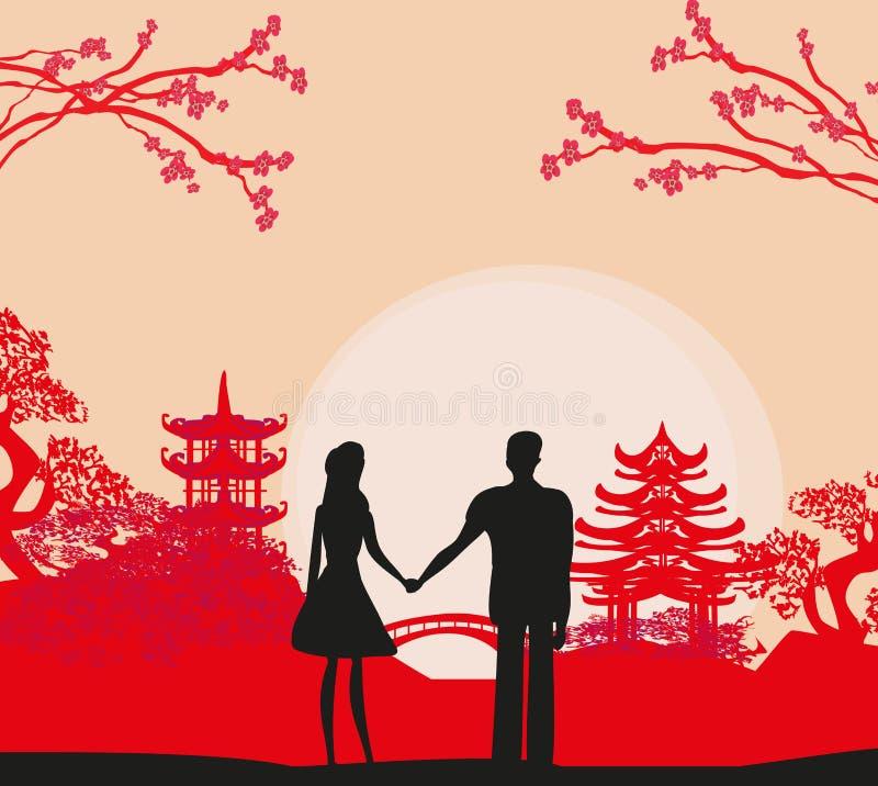 在爱的夫妇在中国 向量例证