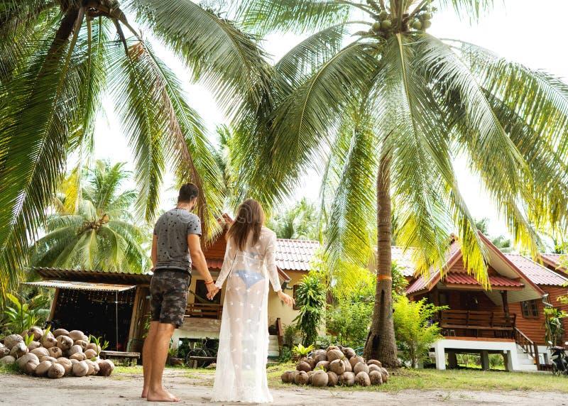 在爱的夫妇在海的热带棕榈日落的 免版税图库摄影