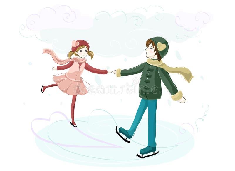 在爱的夫妇在溜冰场 库存例证