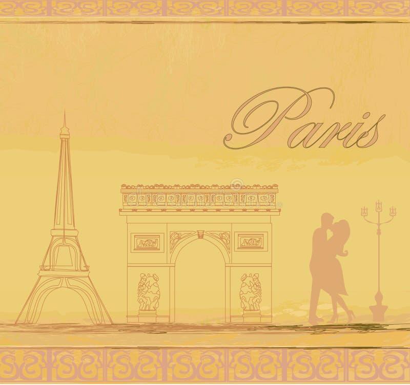 在爱的夫妇在巴黎 库存例证