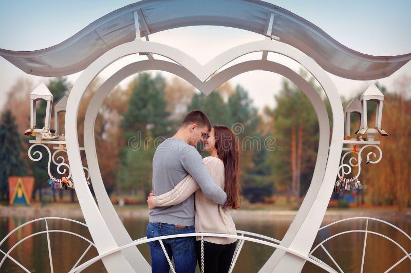 在爱的夫妇在riverr附近走,微笑 被限制的日重点例证s二华伦泰向量 免版税库存图片