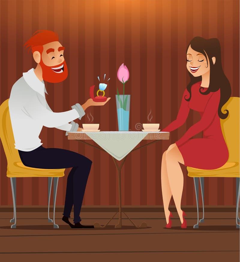 在爱的夫妇,浪漫晚上在餐馆或咖啡馆,年轻人提出与大金刚石的圆环给他心爱的美丽的妇女 d 皇族释放例证
