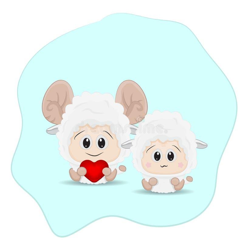 在爱的夫妇绵羊 库存例证