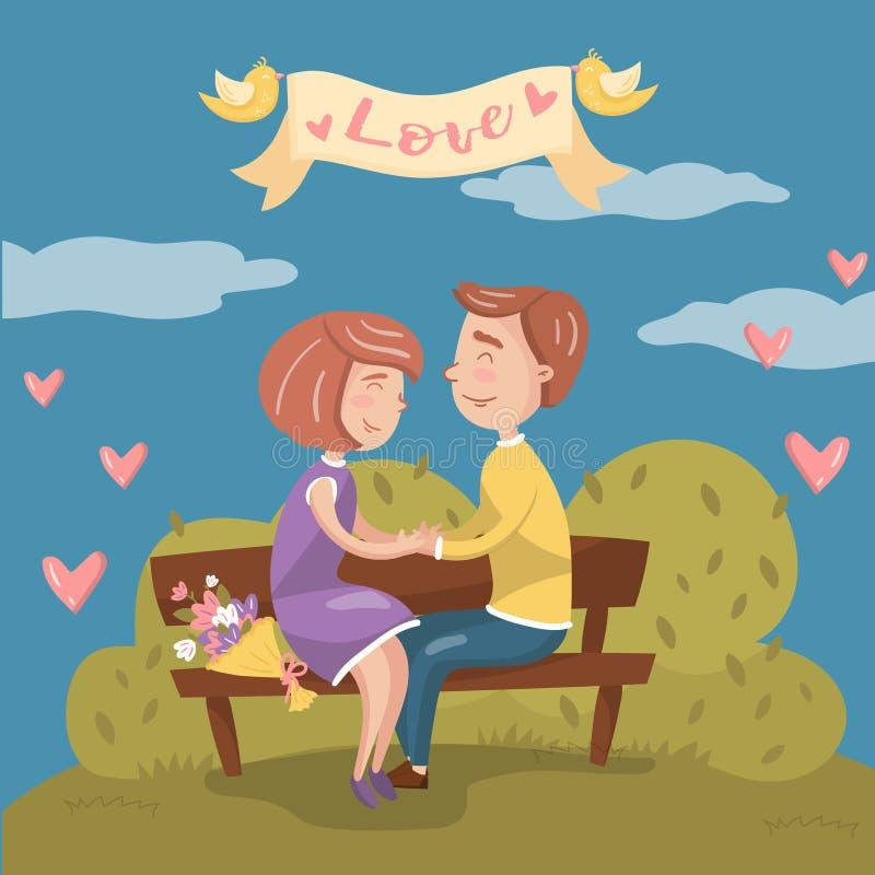 在爱的年轻夫妇一起坐长凳在公园,与浪漫夫妇传染媒介的情人节卡片 皇族释放例证