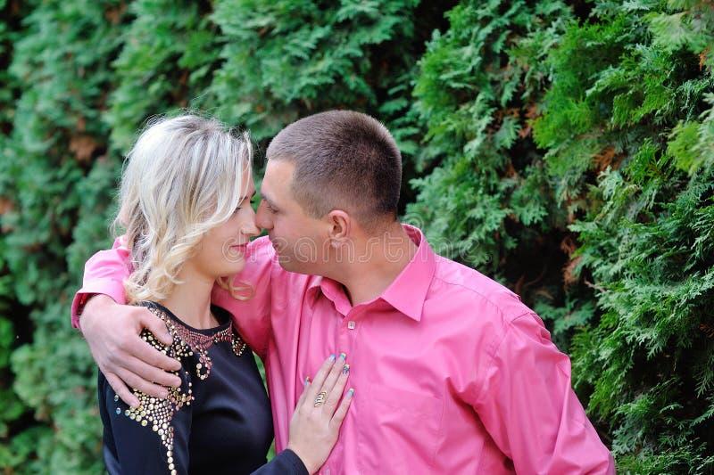 在爱的愉快的夫妇在夏天 免版税库存照片